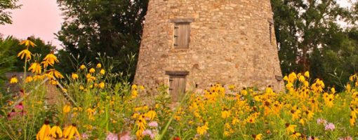 Old, brick mill with wildflowers