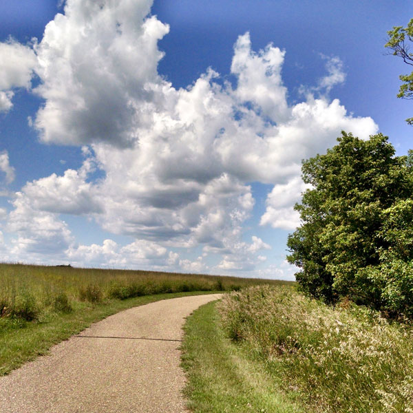 Puffy clouds and trail through grassy hill