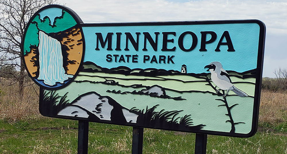 Minneopa State Park entrance sign