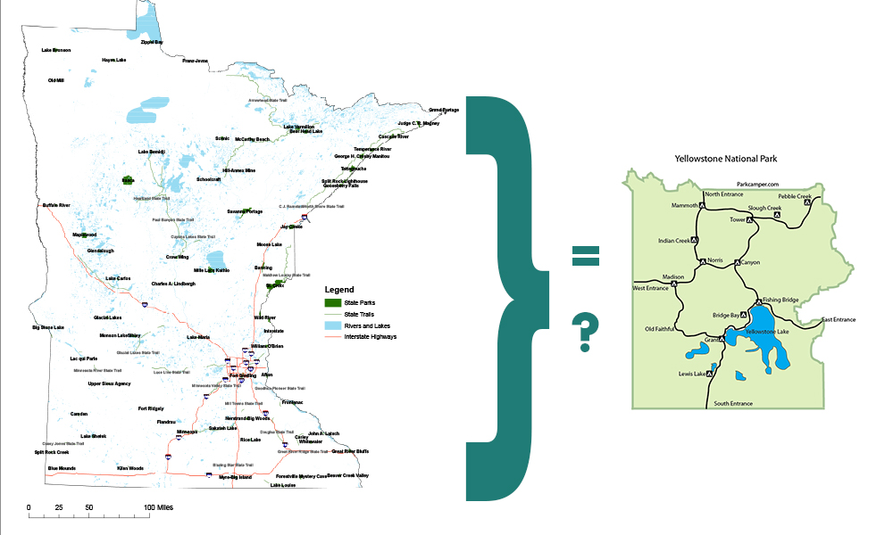Map of MN next to map of yellowstone