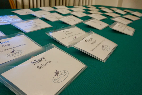 name tags on table