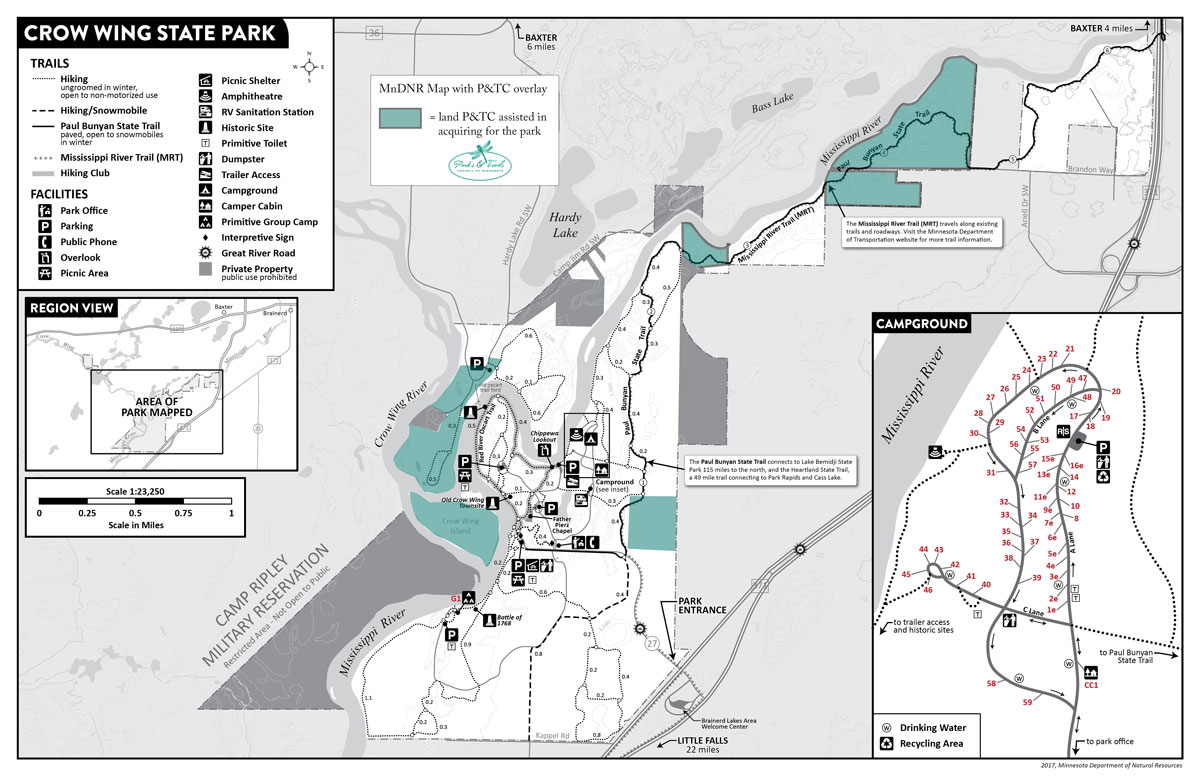 Map of Crow Wing State Park showing our project sites