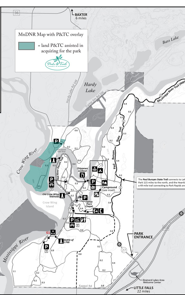 Map showing the 2013 project at Crow Wing State Park