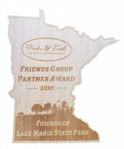 wood award in shape of minnesota with laser cutting