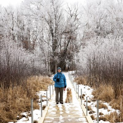 Snowy boardwalk with person and dog