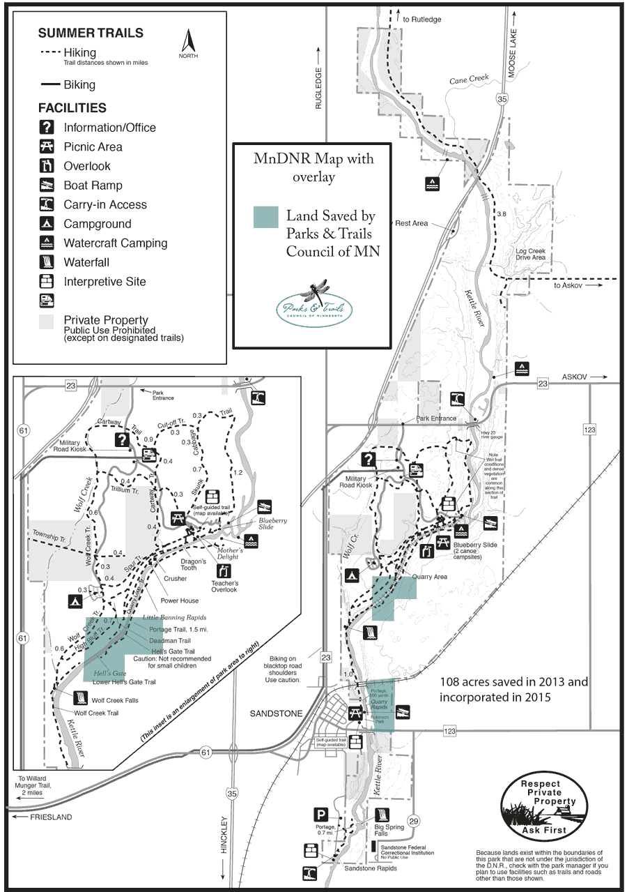 Map of Banning State Park with overlay showing acquisitions by Parks & Trails Council