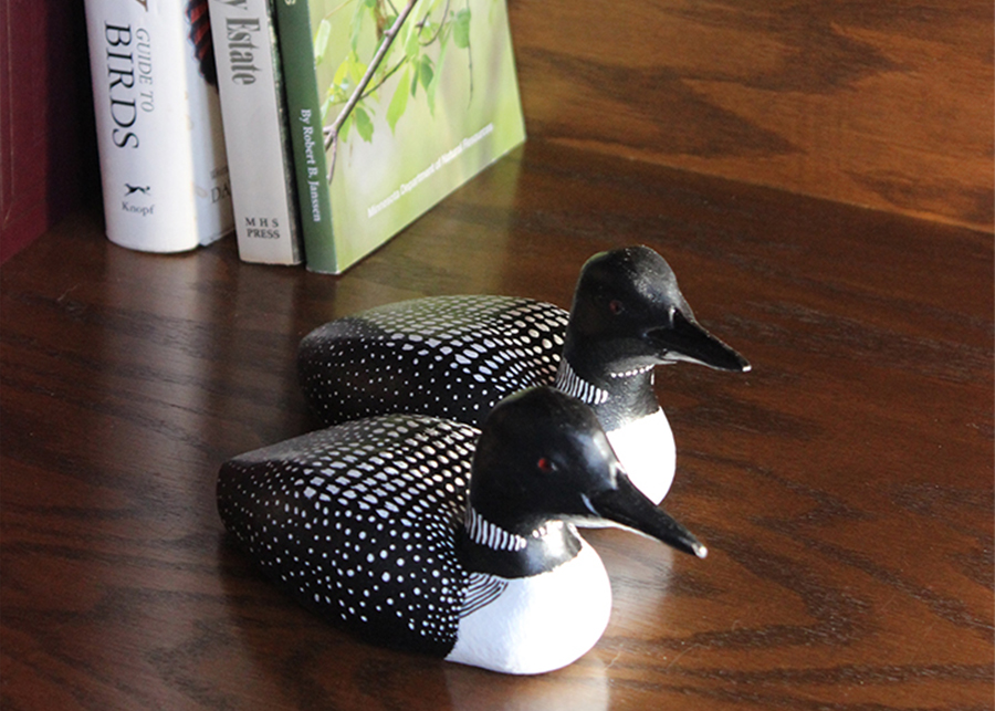 Wood carved loons