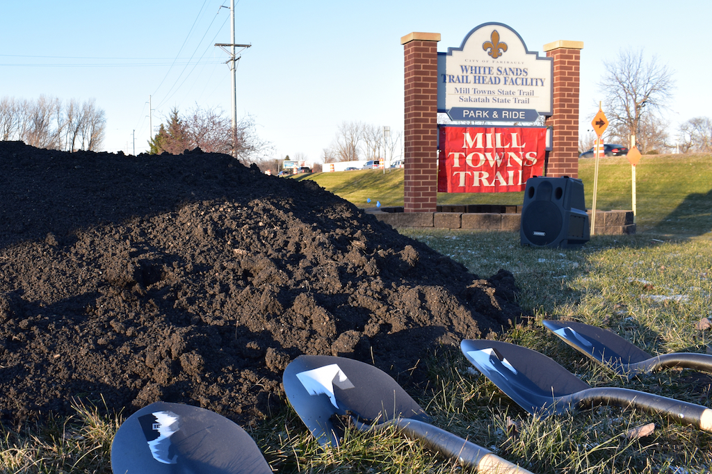 Shovels rest, ready for the ground-breaking ceremony