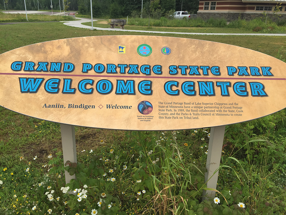 Welcome sign at Grand Portage State park