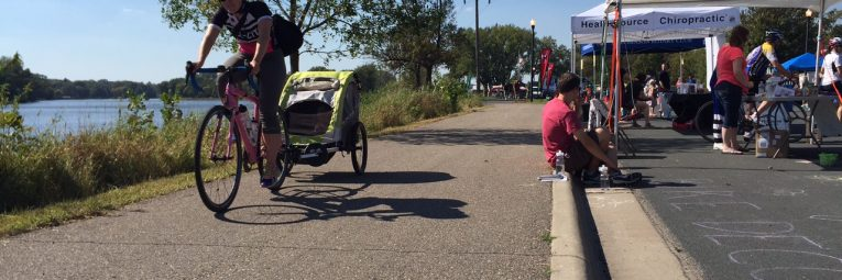 Bicyclist on trail in Hutchinson