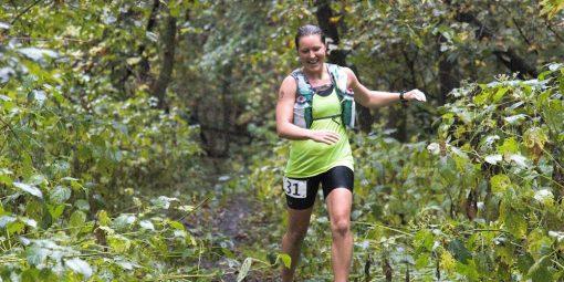 woman trail running