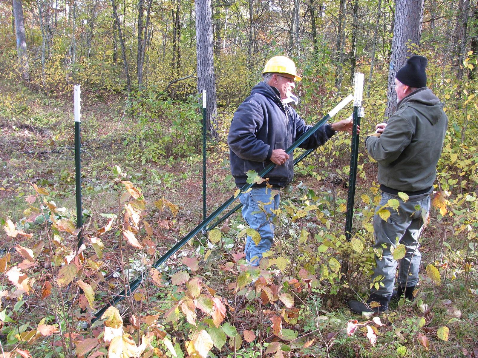 Volunteers building a deer exclosure