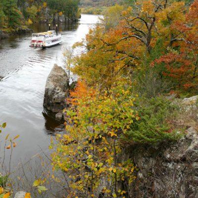 Paddleboat and fall foliage