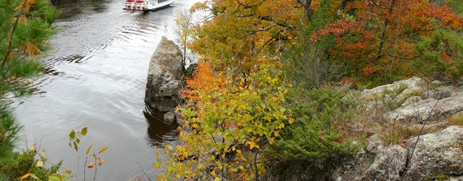 Paddleboat and fall foliage