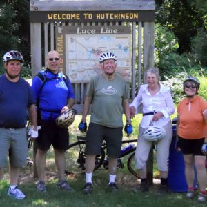 bicyclists gathered at trailhead