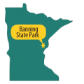 Map of Mn with star at Banning State Park