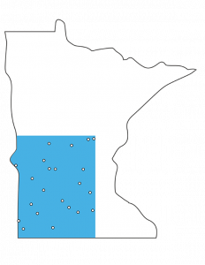 Minnesota Outline with SW corner blue