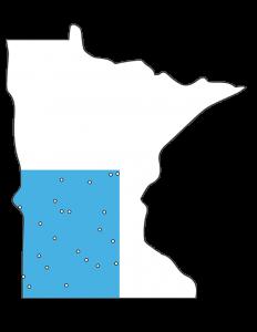 Minnesota Outline with SW corner blue