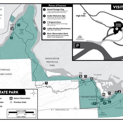 Map of Grand Portage State park showing our project sites