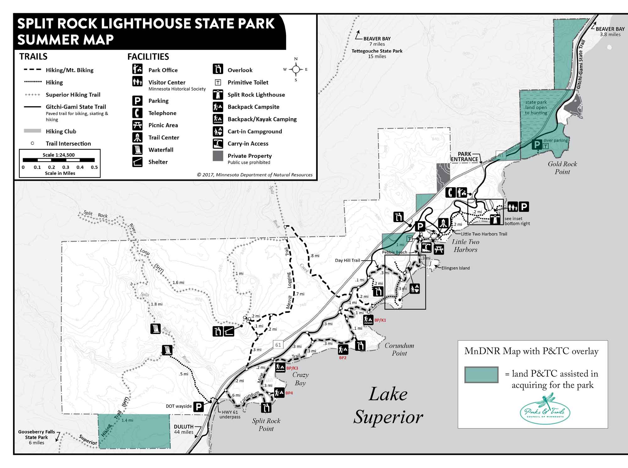 Map of Split Rock Lighthouse State Park showing project sites