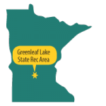 Map of MN with star at Greenleaf Lake SRA