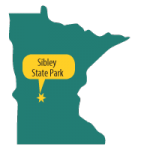 Map of Mn with star at Sibley State Park