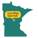 Map of MN with star at Crow Wing State Park