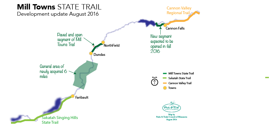Map of Mill Towns State Trail development update August 2016