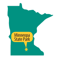 Map showing location of Minneopa State Park