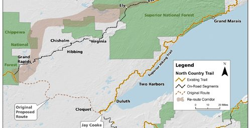 North Country Trail re-route map