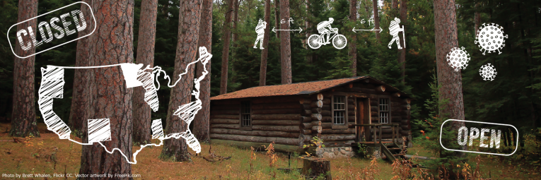 Cabin in woods with graphics overlaid