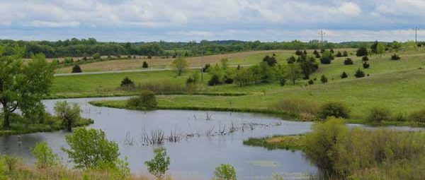 The rolling grasslands with pond at Sibley State Park