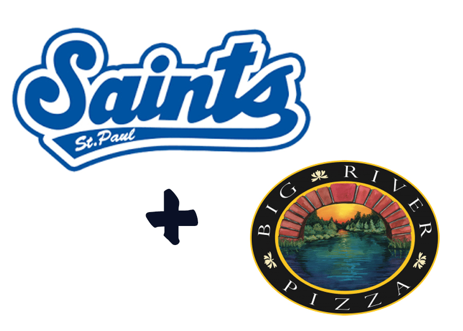 Logos for Saints and Big River Pizza