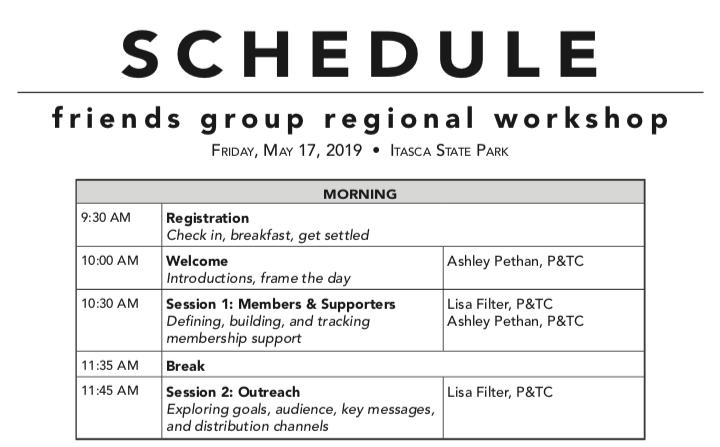 screen shot of NW workshop schedule
