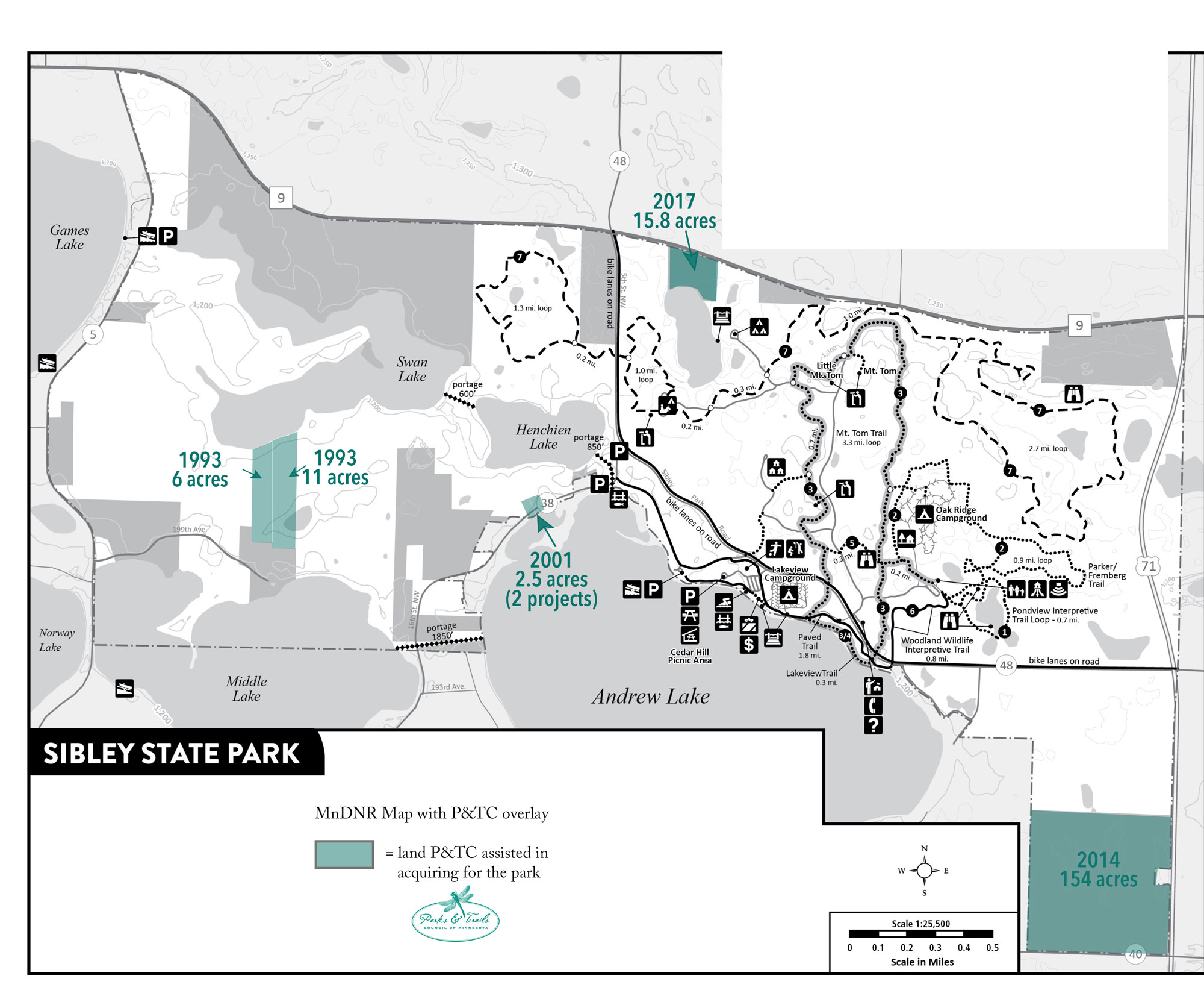 DNR map of Sibley State Park with P&TC project overlays