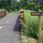paved trail over bridge with sign