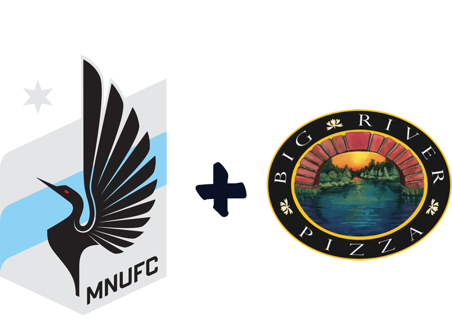Logos for MN United and Big River Pizza