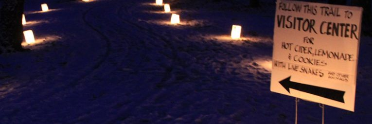 candles along path in the snow at night