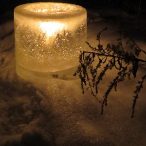Rice Lake Candlelight snowshoe hike. By Vickie Wendel