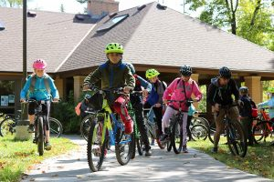 Fifth graders on a biking field trip