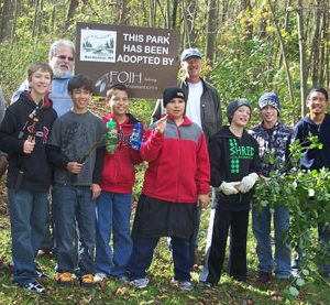 boy scout troop at habitat restoration event