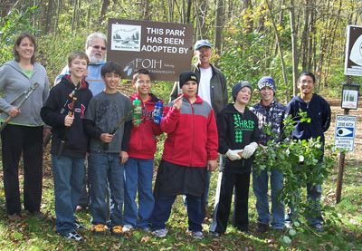 boy scout troop at habitat restoration event