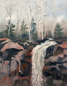 painting of waterfall with birch trees