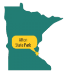 Map of MN with star at Afton State Park