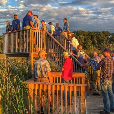 Group using observation deck at Isanti Co Anderson Park