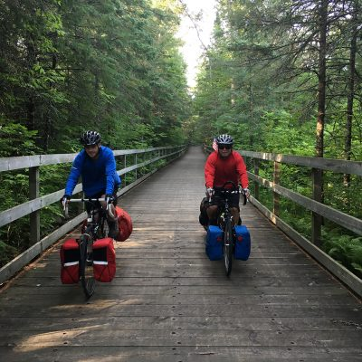 My husband and son on a bike trip. They started out in Itasca State Park, then biked on to the Mi-Gi-Zi, Heartland and Paul Bunyan trails and into Minneapolis.