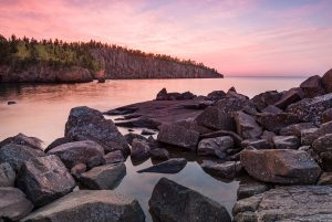 sunset over rocky Lake Superior