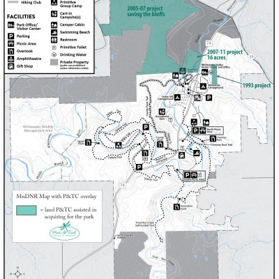 Park map showing land project locations