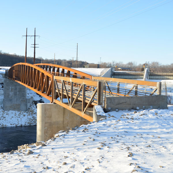 Newly constructed pedestrian bridge
