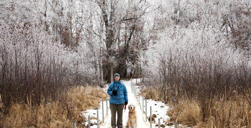 hiker in winter on boardwalk